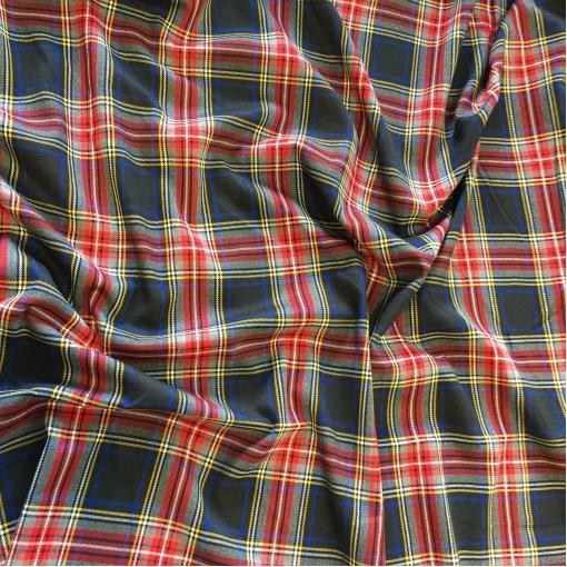 Ткань костюмная поливискозная стрейч клетка в черно-красной гамме