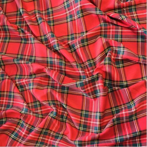 Ткань костюмная поливискозная стрейч клетка в желто-красной гамме