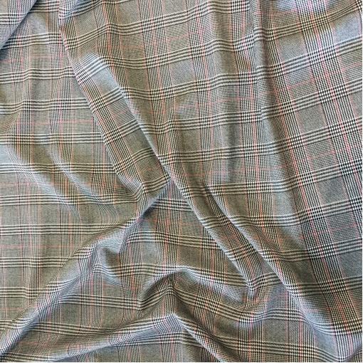 Ткань костюмная поливискозная стрейч пье-де-пуль в черно-белой гамме