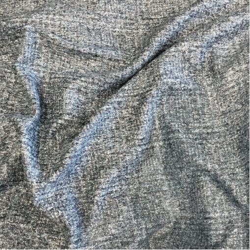 Ткань костюмно-плательная мягкая серо-голубой меланж