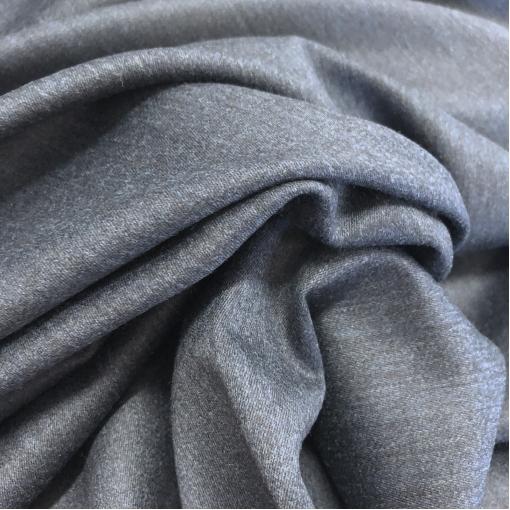 Ткань костюмная шерстяная темно-синего цвета под джинс