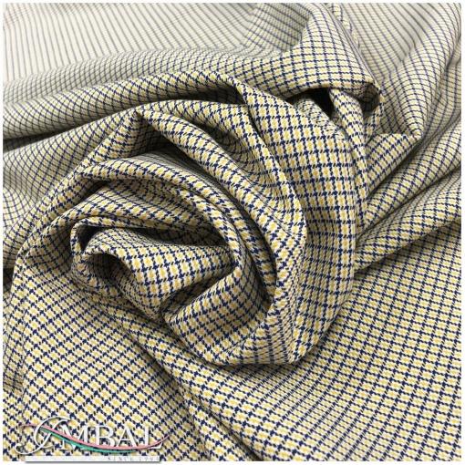 Ткань костюмная стрейч дизайн Max Mara черно-горчичная мелкая клетка