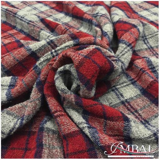 Ткань плательно-костюмная мягкая стрейч дизайн Max Mara серо-красная клетка