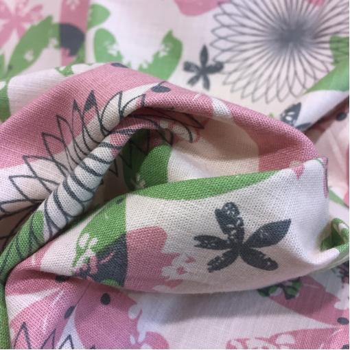 Лен с вискозой стрейч принт Ferretti абстрактные цветы