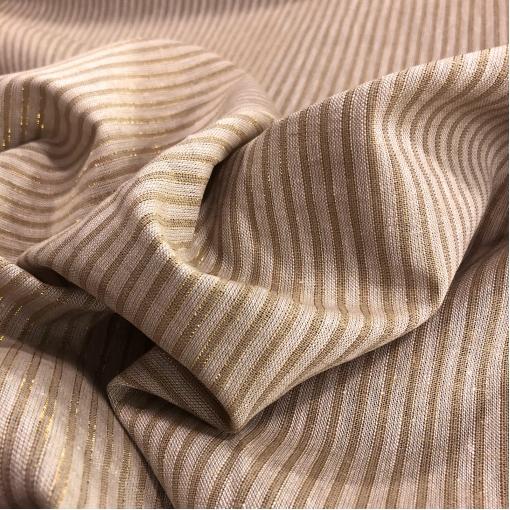 Лен нарядный Sportmax с люрексовыми полосками песочного цвета