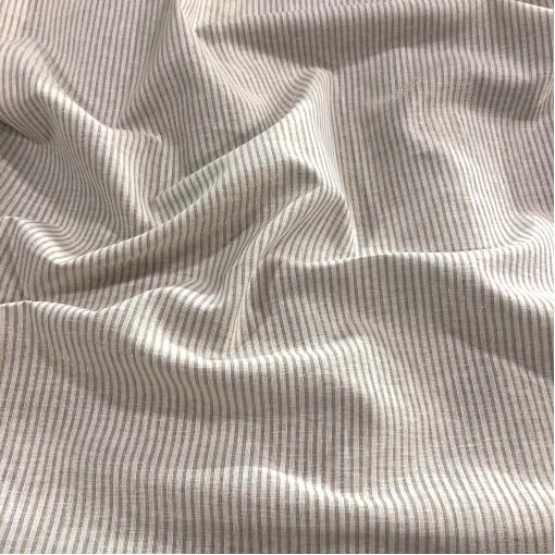 Лен нарядный Sportmax с люрексовыми полосками бело-песочного цвета