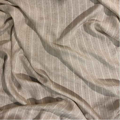 Лен нарядный Max Mara с люрексовыми полосками натурального цвета