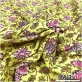 Лен с хлопком костюмный принт Ratti цветочный орнамент на нежно-салатовом фоне