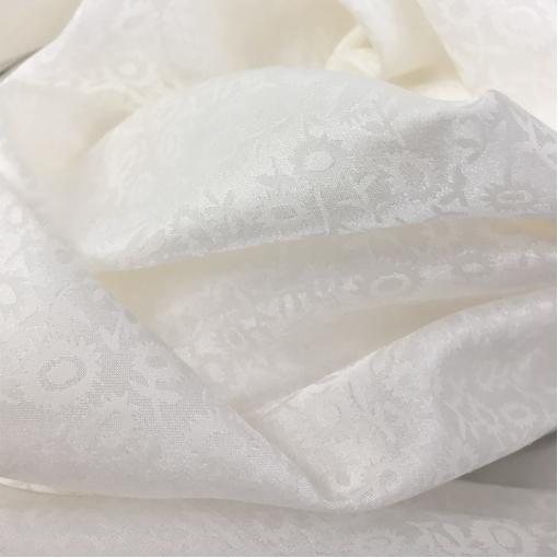 Муслин шелк с хлопком тонкий жаккардовый белый цветочный рисунок