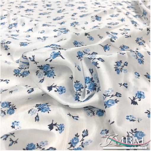 Муслин атласный вискоза с шелком принт Ratti голубые цветы на белом фоне