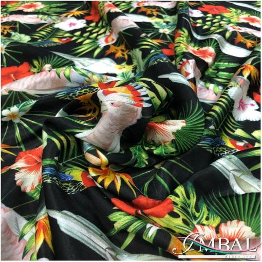 Муслин атласный вискоза с шелком принт Ratti тропики, попугаи на черном фоне