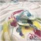 Муслин хлопок с шелком акварельный двухсторонний цветочный купон