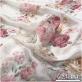 Муслин хлопок с шелком принт нежные розовые букеты на молочном фоне