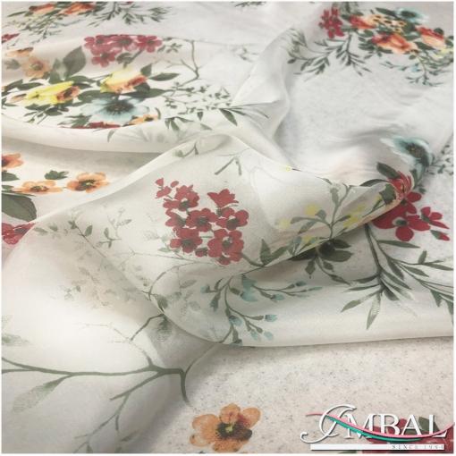 Муслин хлопок с шелком принт букеты полевых цветов на ванильно-молочном фоне