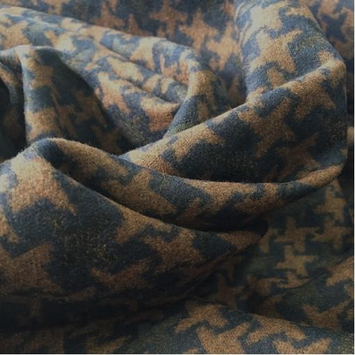 Ткань пальтовая дизайн GUCCI черно-коричневый пье-де-пуль