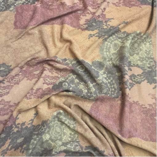 Трикотаж шерстяной плотный имитация кружева на бежево-коричневом фоне