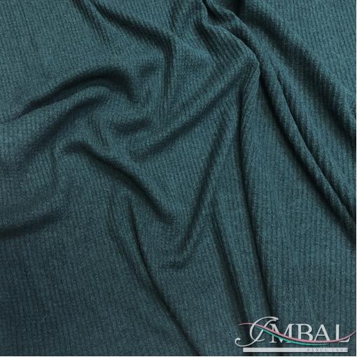 Трикотаж-лапша смесовый теплый стрейч цвета тенистой зелени