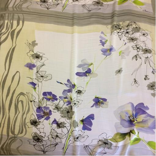 Шелковый платок шифон узкий цветочный принт Asfalia
