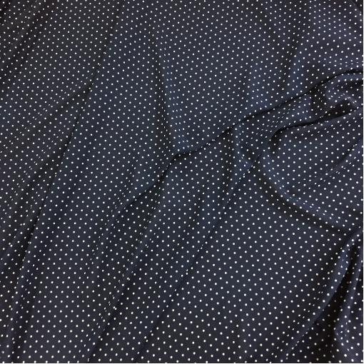 Вискоза креповая стрейч Aspesi горошки на темно-синем фоне
