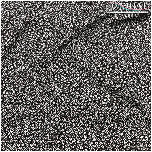 Вискоза мягкая плательная принт Prada мелкие цветочки на черном фоне