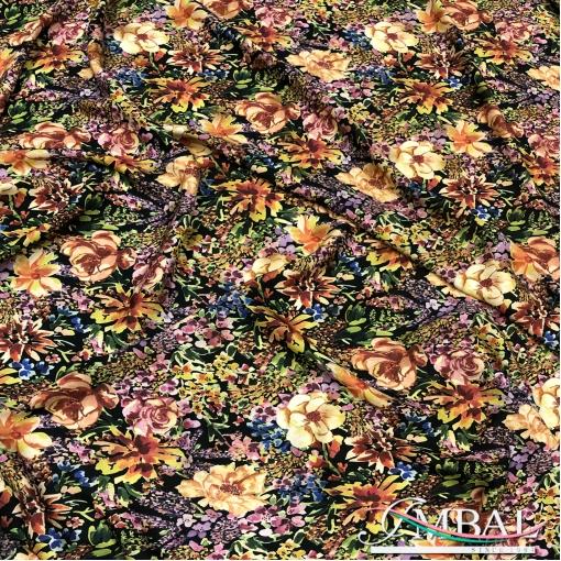 Вискоза плательная креповая принт цветочная поляна в желто-оранжевых тонах