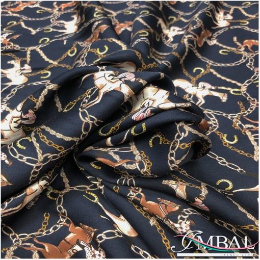 Вискоза мягкая плательная принт в стиле Hermes всадники и цепи на темно-синем фоне
