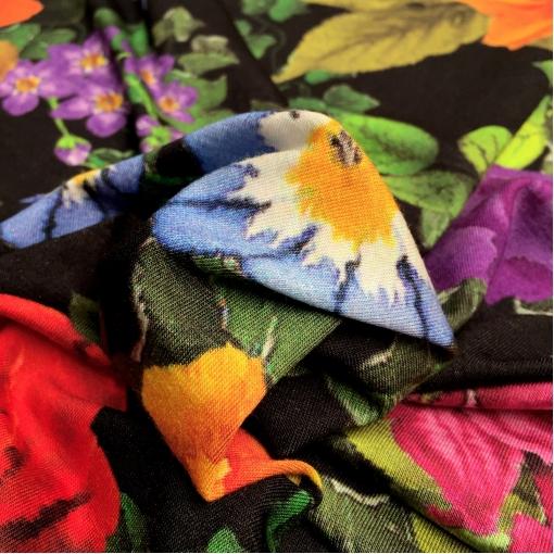 Трикотаж вискозный плательный черный стрейч принт D&G букеты цветов