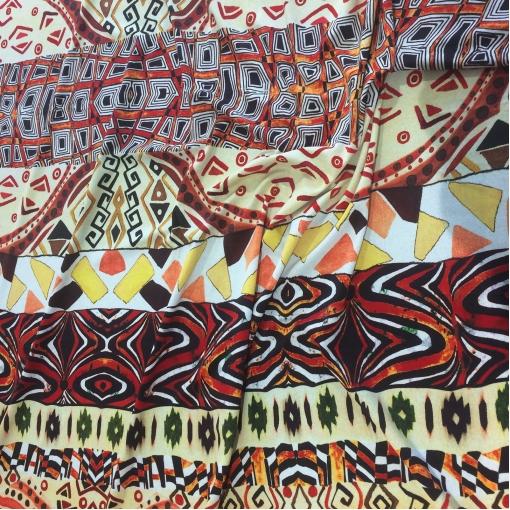Трикотаж вискозный плательный скользкий стрейч принт ETRO этнический  орнамент