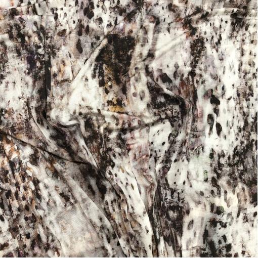 Трикотаж вискозный мягкий принт абстракция в шоколадно-сиреневых тонах