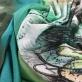 Трикотаж вискозный с отливом стрейч дизайн Save the Queen бирюзово-салатовый купон
