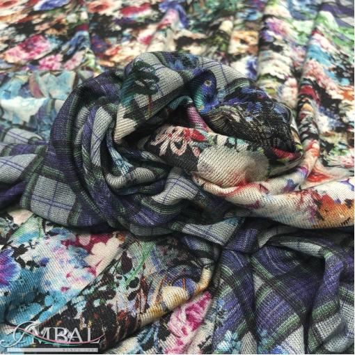 Трикотаж мягкий викоза с шерстью принт Prada продольный цветочный купон