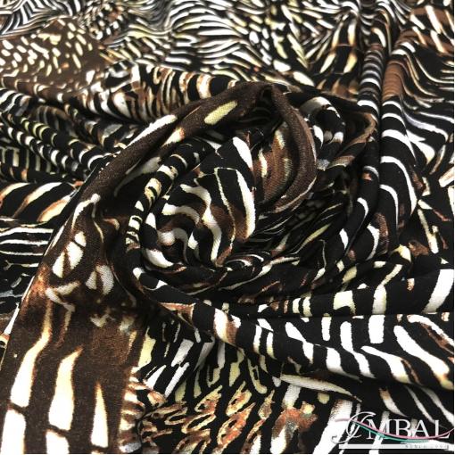 Трикотаж вискозный мягкий плотный принт стилизованная зебра в желто-коричневой гамме