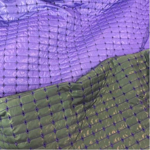 Ткань курточная двухсторонняя с перфорацией сиреневого/темной бирюзы цвета