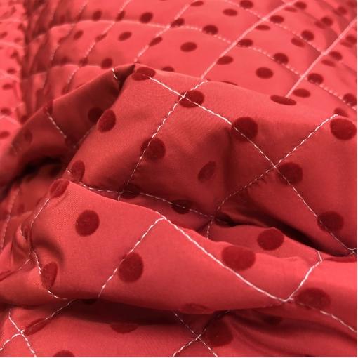 Ткань курточная стеганная двухсторонняя принт Versace флоковые горошки на красном фоне