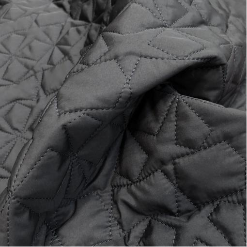 Ткань курточная стеганная принт Versace звезды на темно-синем фоне