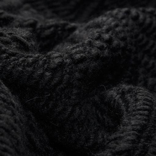 Смесовый пальтовый трикотаж крупной вязки черного цвета