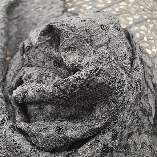 Кружево ажурное с пайетками черного цвета