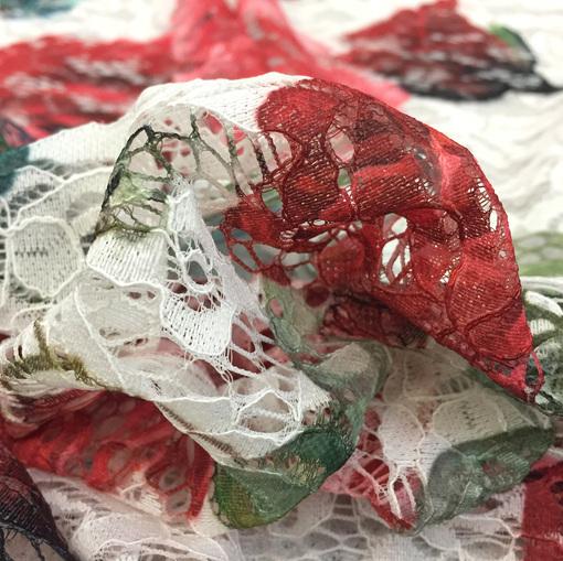 Кружево D&G розы на молочном фоне