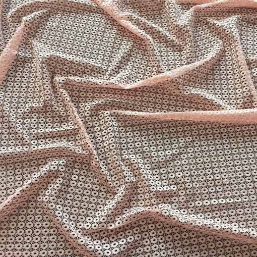 Кружево стрейч Elie Saab кораллового цвета мелкая геометрия