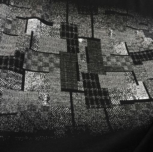 """Джерси вискозное стрейч купон черно-серая """"геометрия"""""""