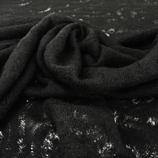 Трикотаж шерстяной ажурный черного цвета
