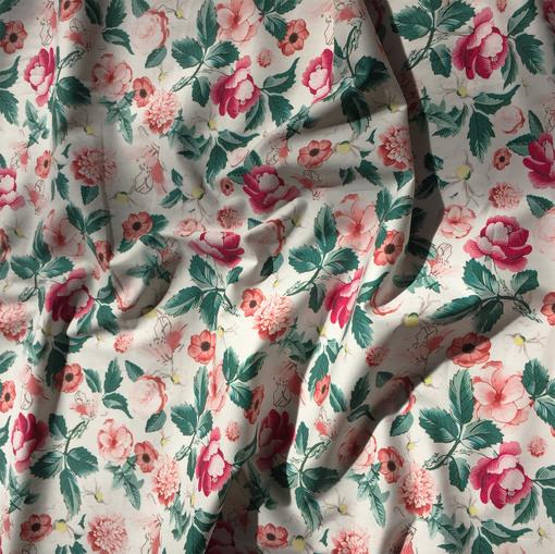 Хлопок Alberta Ferretti стрейч цветочная поляна в клубничных тонах