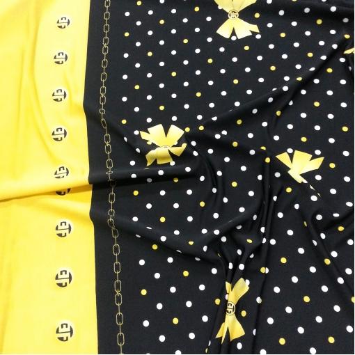 Хлопок стрейч желто-черные бантики