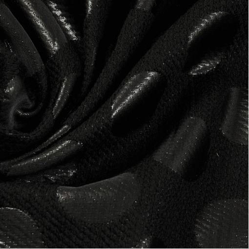Жаккард двусторонний черный в крупный горох