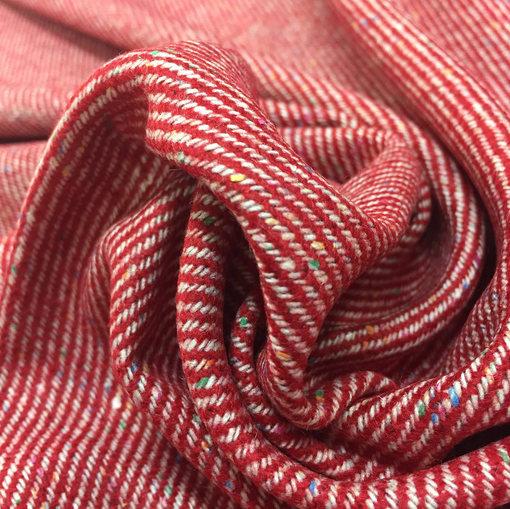 Твид костюмный стрейч Armani в красно-бежевых тонах