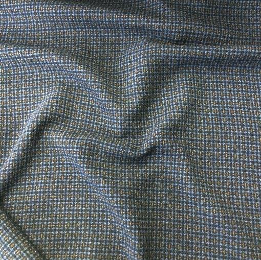 Ткань костюмная шерстяная сине-голубая клеточка