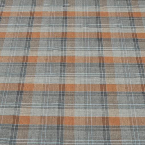 Тонкая костюмная ткань в серо-оранжевую клетку