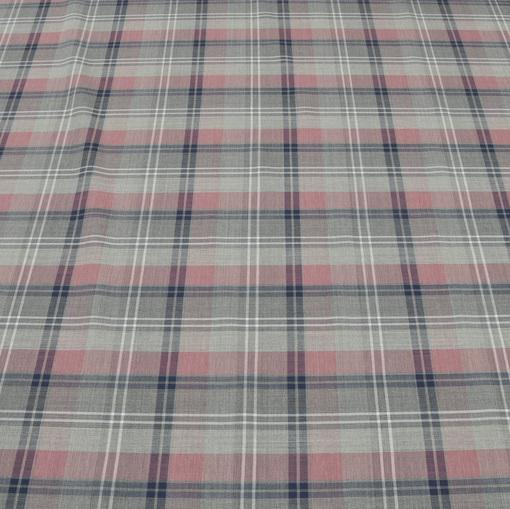 Тонкая костюмная ткань в серо-розовую клетку