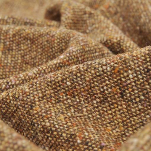 Костюмно-пальтовый твид рыже-коричневого цвета в желтую крапинку