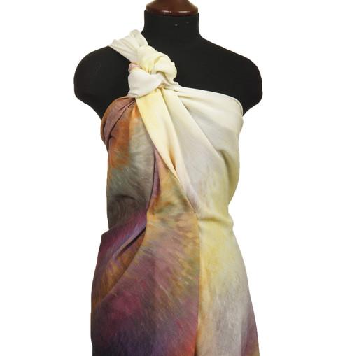 Креповая шерсть с купоном из желто-сиреневых акварельных мазков